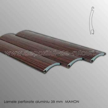 Lamele rulouri exterioare aluminiu 39 mm perforate mahon