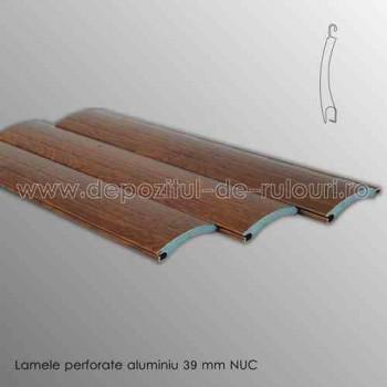 Lamele rulouri exterioare aluminiu 39 mm perforate nuc