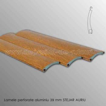 Lamele rulouri exterioare aluminiu 39 mm perforate stejar auriu