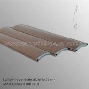 Lamele rulouri exterioare aluminiu 39 mm neperforate maro deschis ral 8014