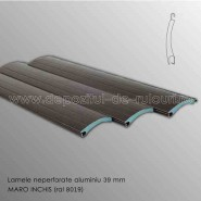 Lamele rulouri exterioare aluminiu 39 mm neperforate maro inchis ral 8019