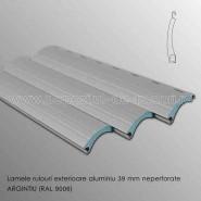Lamele rulouri exterioare aluminiu 39 mm neperforate argintiu ral 9006