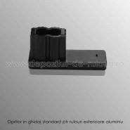 Opritor negru in ghidaje standard pentru rulouri aplicate aluminiu